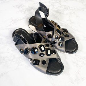 ALL BLACK Strappy Sporty Jeweled Sneaker Sandals